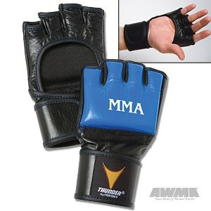 ProForce® Thunder Leather MMA Gloves – Blue/Black