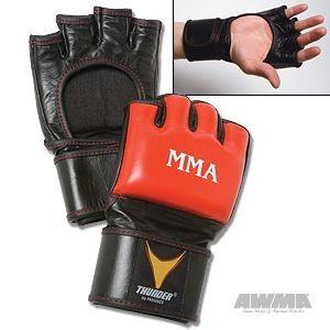 ProForce® Thunder Leather MMA Gloves – Red/Black