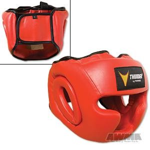 ProForce® Thunder Vinyl Full-Face Boxing Headgear – Red