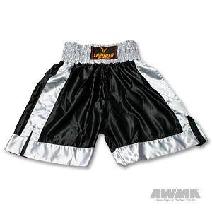 ProForce® Thunder Satin Boxing Trunks – Black/Grey