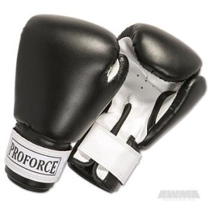ProForce® Leatherette Boxing Gloves – Black/White