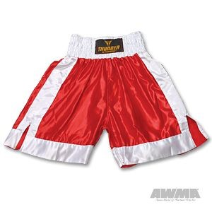 ProForce® Thunder Satin Boxing Trunks – Red/White