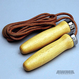 Hardwood Handle Jumprope – Leather Cord