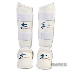 "NKF ""USA Karate"" Leg Protector w/Instep Guard – White"